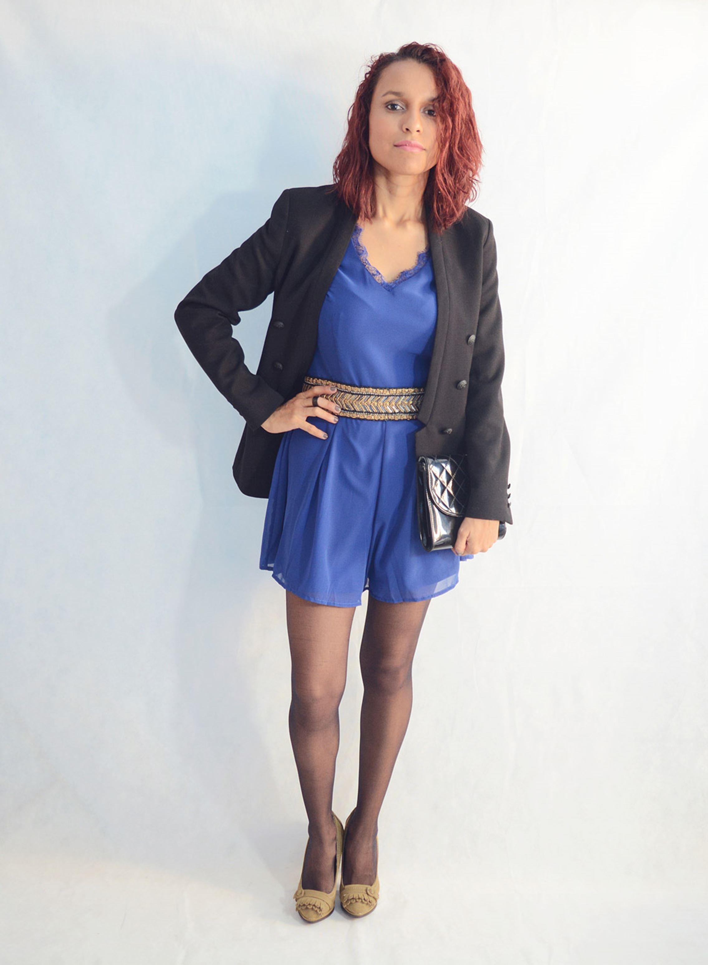Look elegante con mono azul1