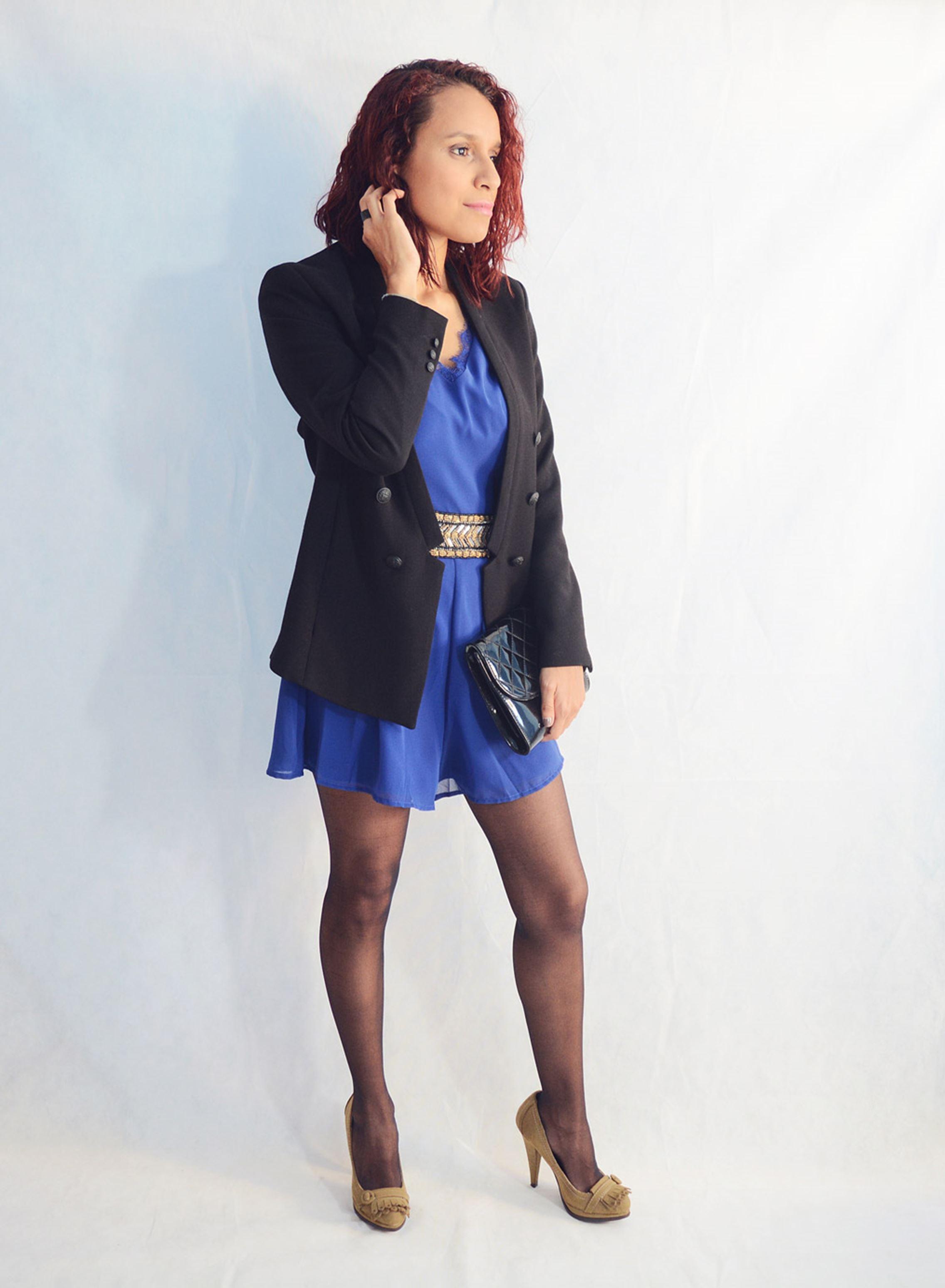 Look elegante con mono azul3